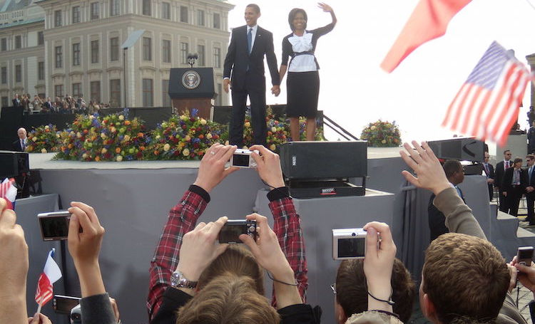 Photo: President Obama and his Wife, Michelle in 2009 in Prague. Credit: Adrigu – Wikimedia Commons