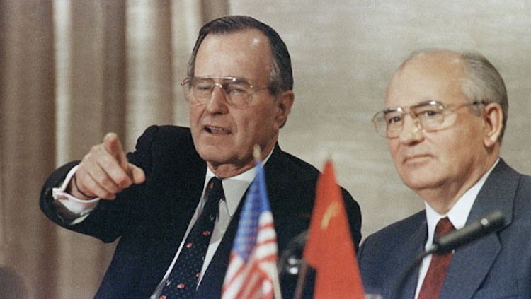 Photo: President George H. W. Bush and Soviet leader Mikhail Gorbachev declared an end to the Cold War at the Malta Summit on December 3, 1989. At a joint press conference aboard the Soviet passenger liner Maxim Gorky in Marsaxlokk Harbor, President Bush speaks about his hopes for a cooperative U.S.-Soviet relationship. Credit: history.com