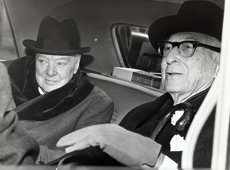 Photo: Winston Churchill and Bernard Baruch talk in car in front of Baruch's home, 14 April 1961. Credit: Wikimedia Commons.