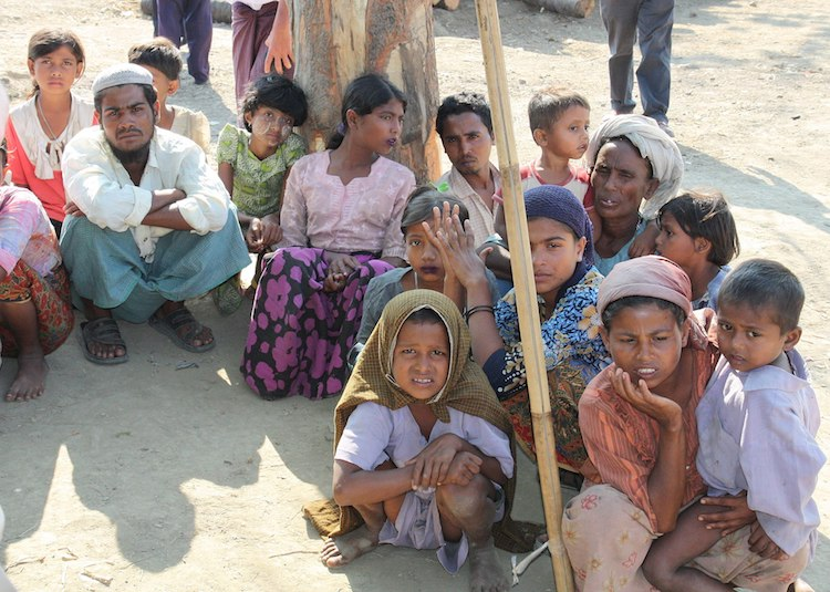 Photo: Displaced Rohingya people in Rakhine State. Credit: Wikimedia Commons.
