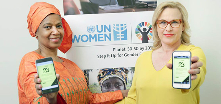 Photo: UN Women Executive Director Phumzile Mlambo-Ngcuka and actress Patricia Arquette join the campaign for equal pay. Credit: UN Women/Ryan Brown