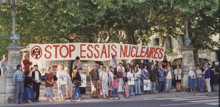 Photo: Demonstration in Lyon, France in the 1980s against nuclear weapons tests. Credit: Wikimedia Commons.