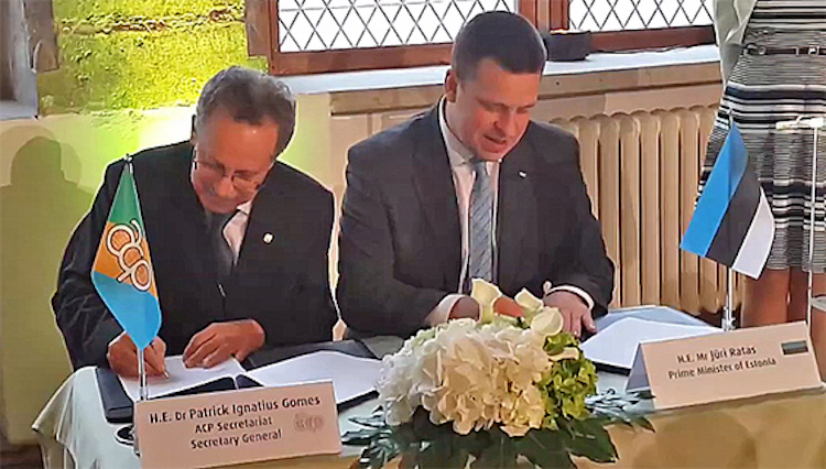 Photo: The ACP Secretary-General Dr. Patrick I. Gomes and the Prime Minister of Estonia Jüri Ratas signed a Memorandum of Understanding on May 31 in the margins of the 2017 Tallinn Conference on E-Governance, on behalf of the ACP Group of States and the Government of Estonia.