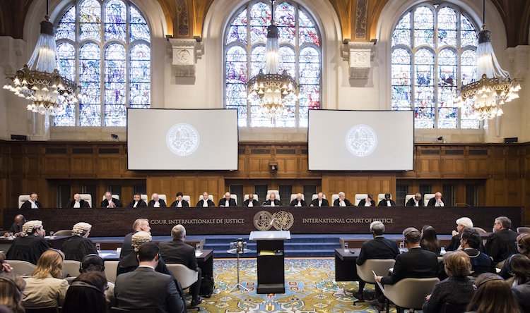 Photo: The International Court of Justice holds a public hearing in the Marshall Islands' case against the United Kingdom in The Hague. (Frank Van Beek/ICJ/UN)