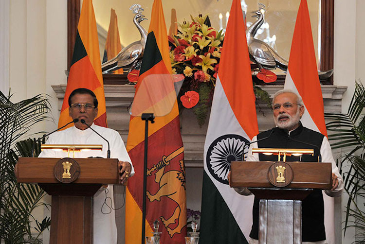 Photo: President Maithripala Sirisena with Prime Minister Narendra Modi in February 2015. Credit: Wikimedia Commons.