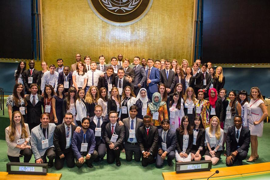 2015 batch of 'Many Languages, One World Group' of students at the UN