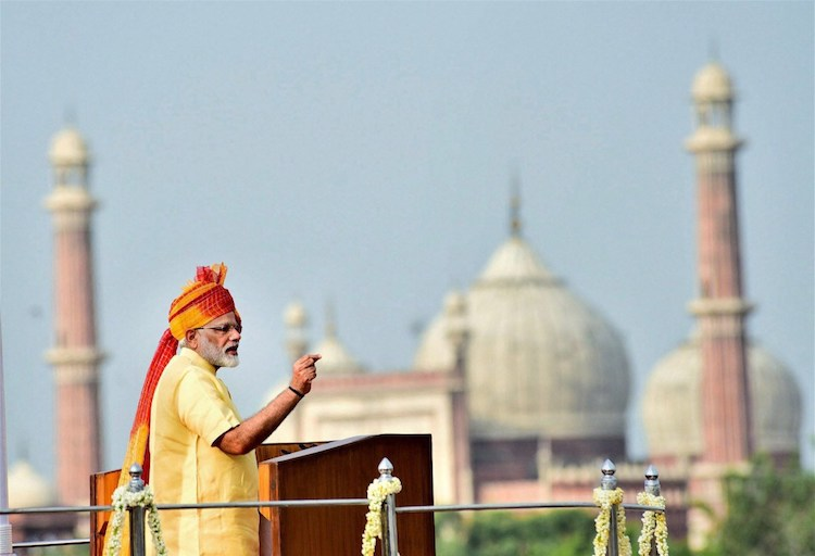 Photo: Prime Minister Narendra Modi addressing the nation from the ramparts of the historic Red Fort on the occasion of Independence Day on August 15 in New Delhi. Credit: PTI/PIB | The Wire