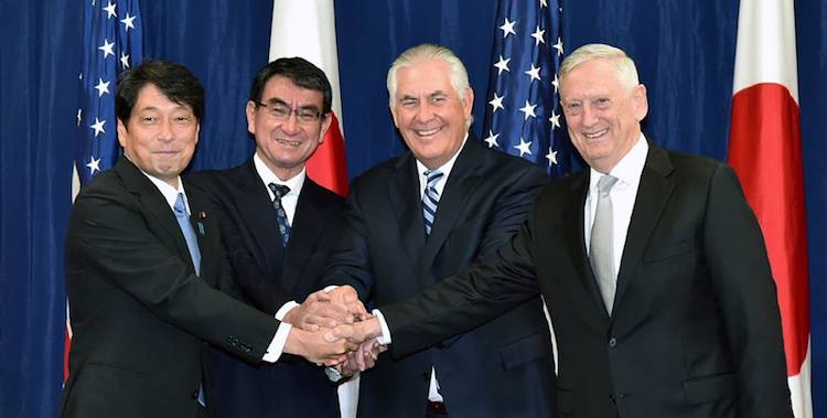 Photo (left to right): Japan's Defence Minister Itsunori Onodera. Foreign Minister Taro Kono, U.S. Secretary of State Rex Tillerson, and Secretary of Defense James Mattis. Credit: Japan MOFA