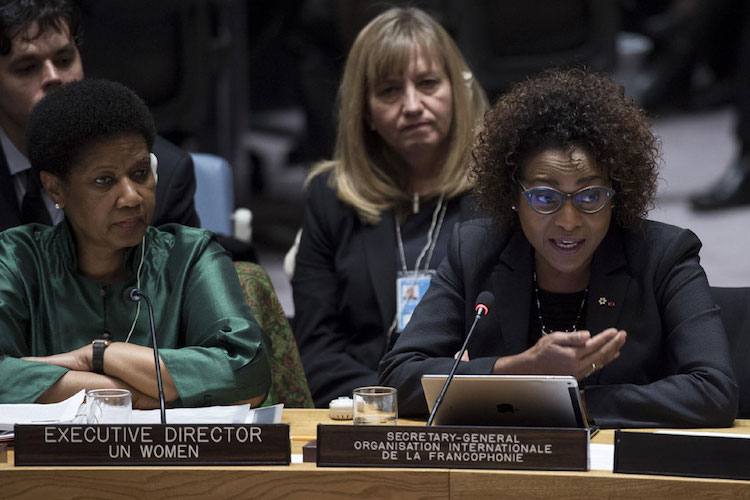 Photo: Michaëlle Jean, Secretary-General of the Organisation Internationale de la Francophonie, addresses the Security Council's open debate on women, peace and security. At left is Phumzile Mlambo-Ngcuka, Executive Director of UN Women. UN Photo/Kim Haughton