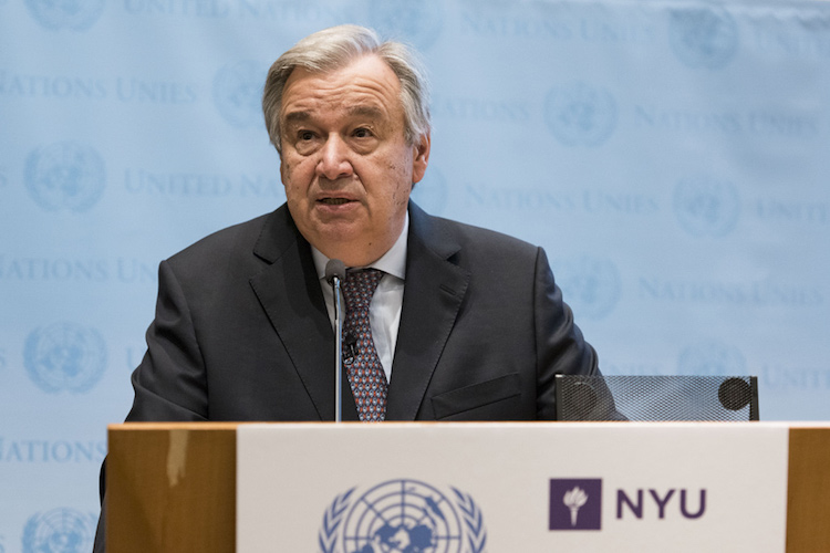 Photo: UN Secretary-General António Guterres addresses audience at New York University Stern School of Business. Credit: UN Photo/Mark Garten