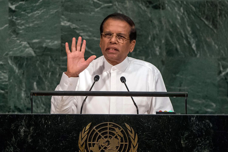 Photo: Since the Nobel Committee painstakingly scrutinizes the words and deeds of all nominees, it was cognizant of President Sirisena's failure to sign the UN Treaty on the Prohibition of Nuclear Weapons. UN Photo/Cia Pak.