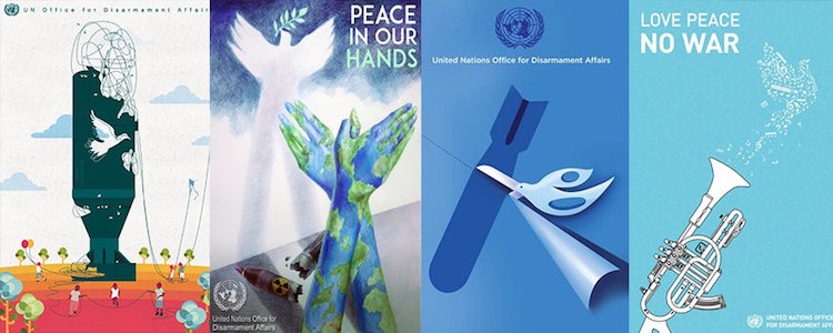 Photo: A composite of posters of the winners of United Nations Poster for Peace contest | Source: UNFOLD ZERO