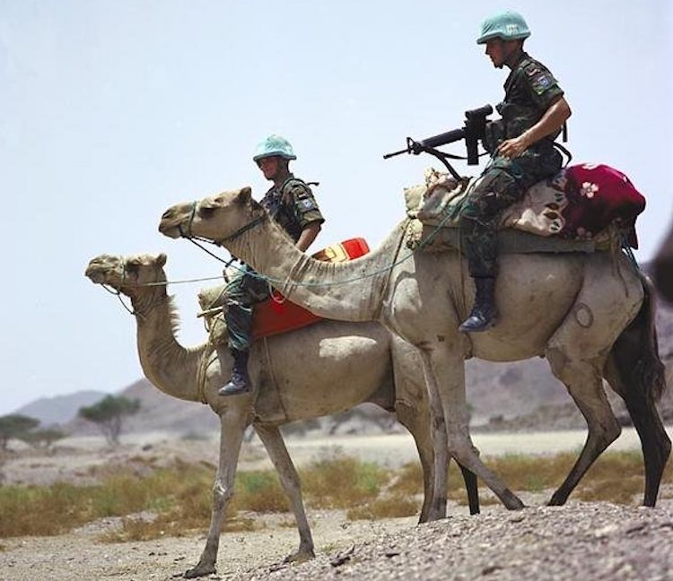 Photo: United Nations soldiers, part of United Nations Mission in Ethiopia and Eritrea (UNMEE), monitoring Eritrea-Ethiopia boundary in 2005. Credit: Wikimedia Commons.