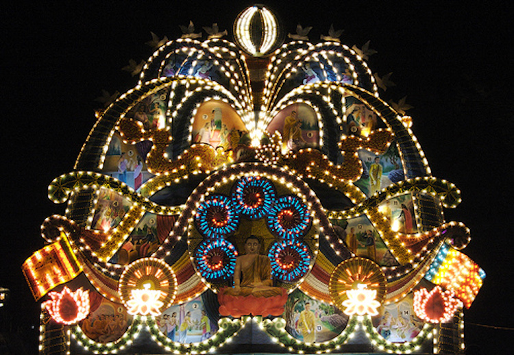 Photo: A Vesak pandal or thorana in Colombo, Sri Lanka. Crnedit: Wikimedia Commons.