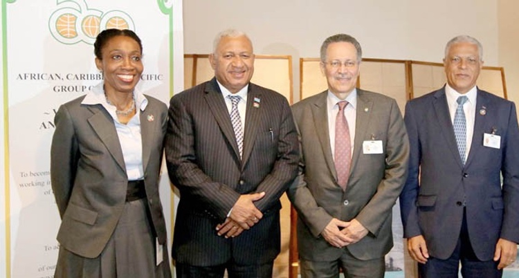 Photo: Prime Minister Voreqe Bainimaram (second from left), and Secretary General of the African, Caribbean and Pacific Group of States (ACP) (second from right), and other members of the ACP delegation after a high level meeting on the margins of the UN Ocean Conference in New York on June 6, 2017. Photo: DEPTFO New