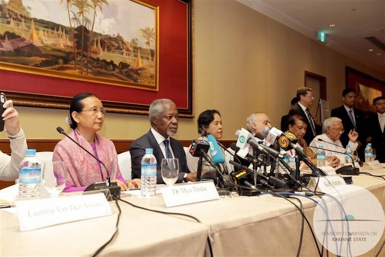 Photo: Kofi Annan (second from left) and Aung San Suu Kyi (right of Annan) introducing the report of the Advisory Commission on Rakhine State.