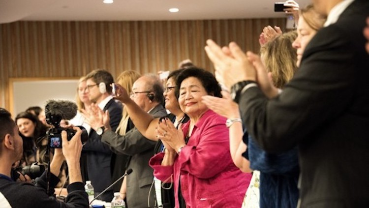 Photo: Applause for adoption of the UN Treaty Prohibiting Nuclear Weapons on July 7, 2017 in New York. Credit: ICAN