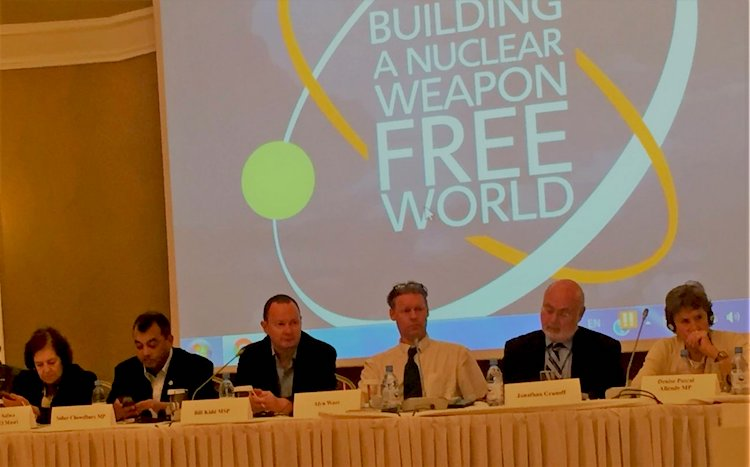 Photo: Bill Kidd MSP, PNND Co-President chairing a PNND meeting in Astana in August 2016. Others pictured are Senator Damen-Masri (Jordan), Saber Chowdhury, Alyn Ware, Jonathan Granoff and Denise Pascal Allende MP (Chile). Credit: PNND