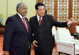 Djibouti President Guelleh (left) with Jia Qinglin, top Chinese advisor