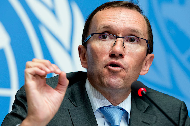 Photo: Espen Barth Eide, Special Adviser to the UN Secretary-General on Cyprus during press conference ahead of the Cyprus talks in Geneva. UN Photo/Jean-Marc Ferré.