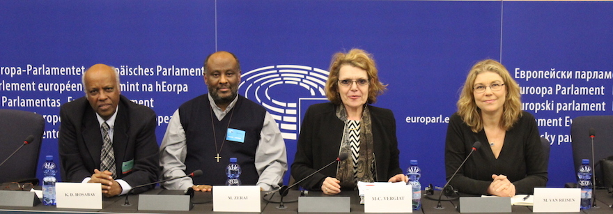 Press conference at the European Parliament on Eritrea on March 10, 2016. Left to right: Kubrom Dafla Hosabay, Father Mussie Zerai, MEP Marie-Christine Vergiat (from the GUE/NGL group), Prof. Mirjam van Reisen. Credit: Florence Tornincasa (EEPA).