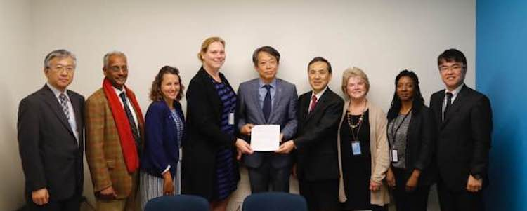 Photo: Faith Communities Concerned about the Humanitarian Consequences of Nuclear Weapons met with Kim Won-Soo, UN High Representative for Disarmament Affairs to hand over an interfaith joint statement. at United Nations Headquarters, New York.