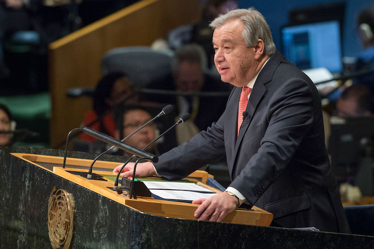 Photo: António Guterres (centre) makes his first address on January 10 to the Security Council as Secretary-General, on the issue of conflict prevention and sustaining peace. At right is Margot Wallström of Sweden, President of the Council for the month of January. UN Photo/Rick Bajornas