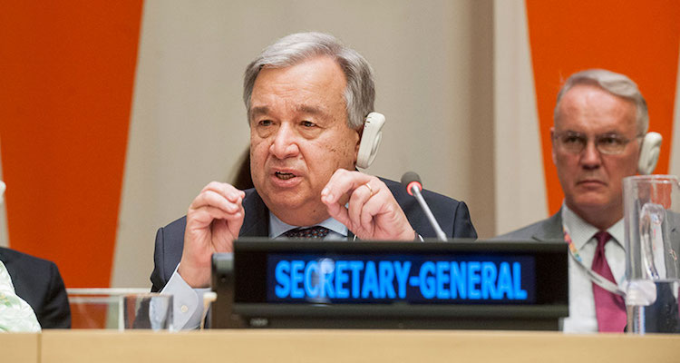 "Photo: Secretary-General António Guterres presents to the Economic and Social Council (ECOSOC) his report, ""Repositioning the UN development system to deliver on the 2030 Agenda – Ensuring a Better Future for All"". Credit: Photo: UN Photo/ Kim Haughton"
