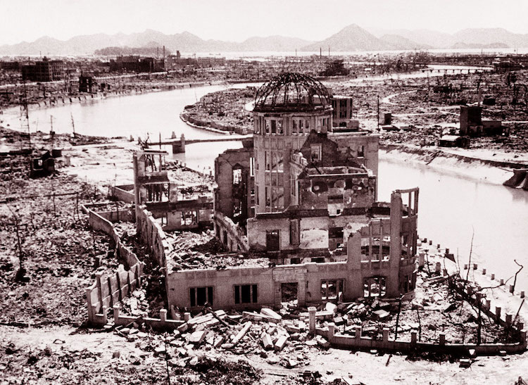 Photo: The remains of the Prefectural Industry Promotion Building, later preserved as a monument - known as the Genbaku Dome - at the Hiroshima Peace Memorial. UN Photo