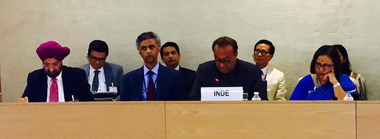 Photo: Indian delegation headed by Mukul Rohatgi, Attorney General, at the human rights review of India. Credit: UN Human Rights Council.