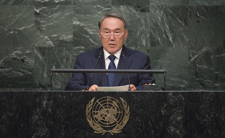 President Nazarbayev addressing the UN General Assembly in September 2015.