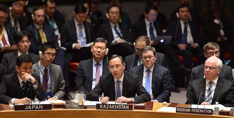 Photo: Kazakh Foreign Minister Kairat Abdrakhmanov addressing the Security Council Open Debate on 'Conflict Prevention and Sustaining Peace' on 10 January 2017. Credit: The Astana Times.