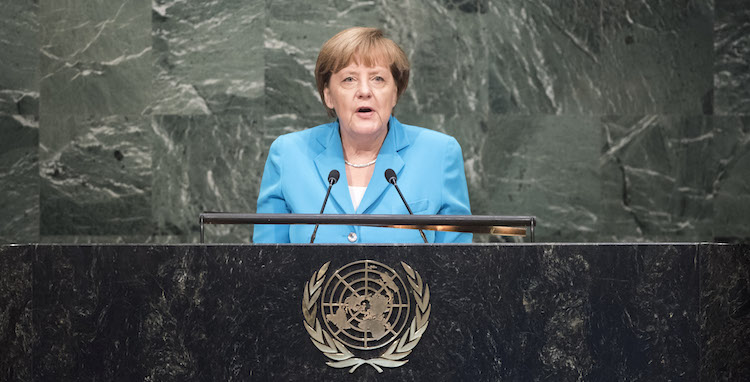 Photo: Angela Merkel, Chancellor of Germany, addressing the United Nations summit for the adoption of the post-2015 development agenda, 25 September 2015. Credit: UN Photo/Mark Garten