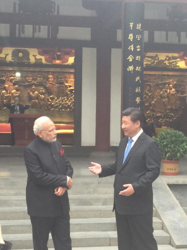 President Xi Jinping & Prime Minister Modi in conversation at the Big Wild Goose Pagoda in Xian | Credit: www.narendramodi.in