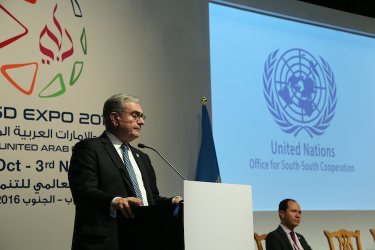 Photo: United Nations Office for South-South Cooperation Director Jorge Chediek closing the Global South-South Development Expo 2016 on 3 November 2016 in Dubai, United Arab Emirates. Credit: SUSSC