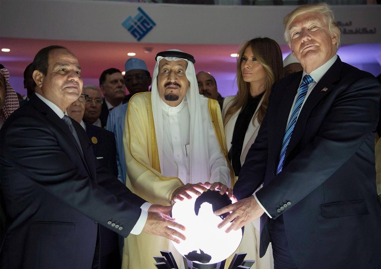 "President Abdel Fattah el-Sisi of Egypt (left), King Salman of Saudi Arabia (centre) and US President Donald Trump (right) during the opening of a centre for combating ""extremist ideology"" in Riyadh. Credit: Saudi Press Agency"