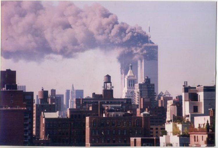 Photo: The Twin Towers ablaze after the second plane crashed in to the Twin Towers. Credit: Dr Palitha Kohona, former Sri Lankan Ambassador and Permanent Representative to the United Nations in New York.
