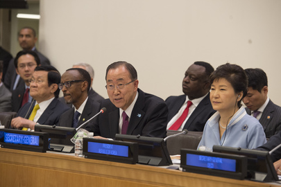 UNSG Ban Ki-moon addressing the High level Conference on the New Rural Development Model, from the Experience of Saemaul Undong. Sitting next to him is Korea President Park Geun-hye. Source: UN Photo/ Eskinder Debebe