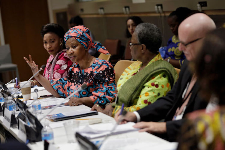 "Photo: UN Women Executive Director Phumzile Mlambo-Ngcuka speaks at the high-level event titled ""The Women, Peace and Security Agenda in a Changing Global Context"" during the 72nd UN General Assembly. Photo: UN Women/Ryan Brown"