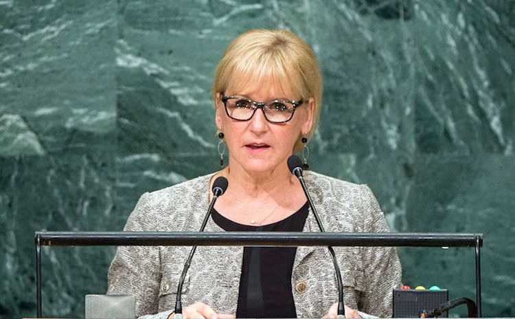 Photo: A staunch supporter of nuclear disarmament, Foreign Minister Margot Wallström of Sweden addressing the UN General Assembly's seventy-first session in September 2016. UN Photo/Manuel Elias